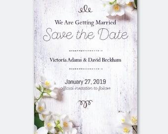 White Wedding Save The Date, Floral, Clean, Custom Invitation - PRINTABLE DESIGN