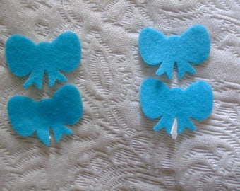 LOT 4 bowties self-adhesive felt 43 mm x 30 mm turquoise colored scrapbooking, sewing, decoration...
