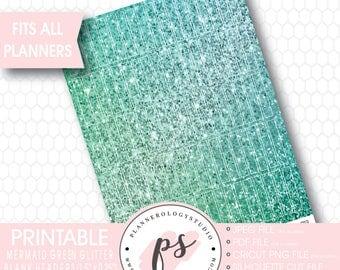 Mermaid Green Glitter Blank Header Printable Planner Stickers | JPG/PDF/Silhouette Cut Files