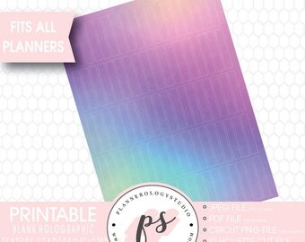 Holographic Texture Pattern Blank Header Printable Planner Stickers | JPG/PDF/Silhouette Cut Files
