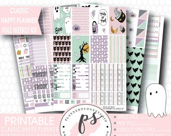 Hey Boo! Halloween Full Weekly Kit Printable Planner Stickers | JPG/PDF/Silhouette Compatible Cut Files | For Use with Classic Happy Planner