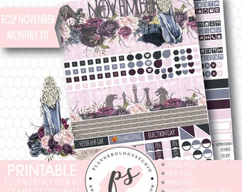 Game of Thrones GOT November 2017 Monthly View Kit Printable Planner Stickers (for Erin Condren) | JPG/PDF/Silhouette Compatible Cut File