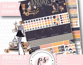 Off to Hogwarts January 2018 Monthly View Kit Printable Planner Stickers (for Erin Condren ECLP) |JPG/PDF/Silhouette Cut File