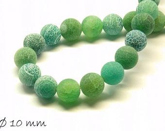 10 pcs matte cracked agate beads, 10 mm, green