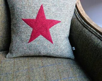 Hand Crafted Harris Tweed star cushion cover