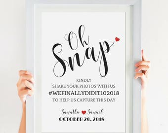 Wedding Hashtag Sign Downloadable Wedding Printable With A Wedding Calligraphy Font To Style Your DIY Wedding! All Sizes! SKU# CWS305_2422