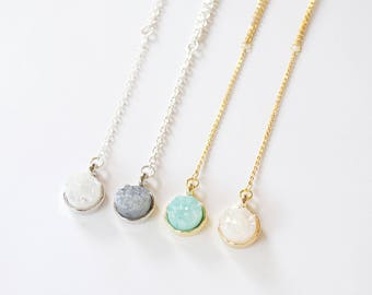 Druzy Drop Necklace // Valentine's Day gift, y necklace, druzy necklace, lariat necklace