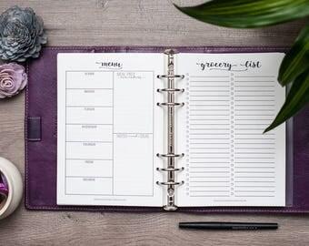 A5 Meal Planning Kit, Menu & Grocery Lists, Filofax A5 Planner Insert, Carpe Diem Inserts, Kikki K Medium Planer Printed Inserts, A5 Inserts