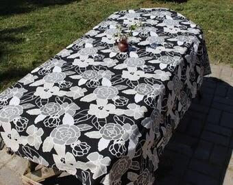 "Swedish Table Runner White Black Gray / Swedish Black Cotton Table cloth / Home Decor / Scandinavian Design  122 cm x 170 cm/ 48"" x 67"""