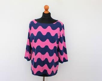 MARIMEKKO Tunic Pink Blue Abstract print Cotton Jersey Vintage  Lilac Purple Top 3/4 Sleeve  Large size