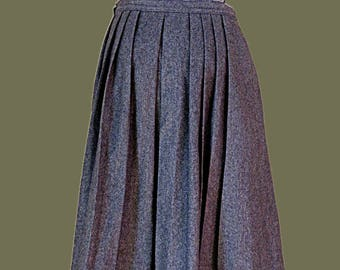 Gray wool skirt size 12 gray pleated midi skirt with pockets Dirndl Lodenfrey Traditional Austrian Skirt vintage size 40 US 12