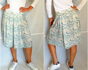 Genuine Burberry London skirt woman silk blue pink floral monogrammed pleated lined below the knee  vintage 90s