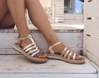 Gold Leather Sandals, Greek Sandals, Summer Shoes, Gold Sandals, Handmade In Athens, Greece from Genuine Leather.