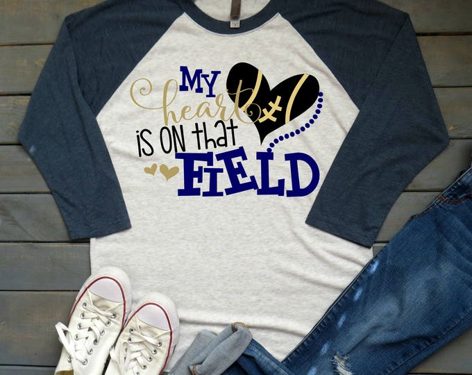 My Heart is on that Field Tee, Football Mama Shirt, Football Mom, Women's Football Tee, Gifts For Mom