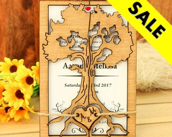 Love Tree wedding invitation rustic wedding invitation wood invitation unique wedding invitation wood wedding invitation rustic invitation