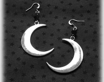 Crescent Moon Earrings, Silver Plated, Celestial Jewelry, Gothic Wiccan Jewelry, Alternative Earrings, Pagan Jewelry, Gothic Gift For Her