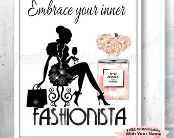 Fashion Illustration, Fashion Decor, Fashion Print, Fashion Quote Print, Fashion Girl Art,Fashion Girl Poster,Fashion Quote,Perfume Wall Art