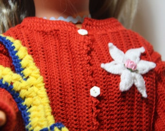 Baby Cardigan red 12-18 months crochet cotton