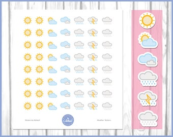 Weather Stickers | Sunny Stickers | Cloudy Stickers | Rain Stickers | Weather Planner Stickers | Journal Stickers | Diary Stickers