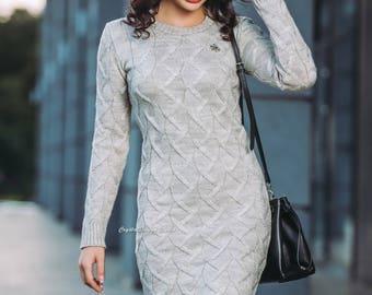 Beige Wool dress knitted Womens knitted dress long sleeve Spring dress Oversized dress warm Winter dress knee dress Floor Length Dress