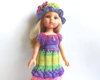 Clothes for doll 13 inch, colorful knitted dress and hat, 32cm