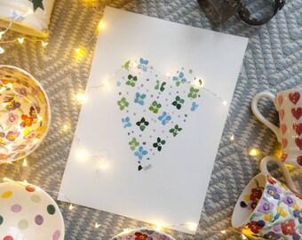 A4 Winter Wallflower Heart - original watercolour painting. Not a print.