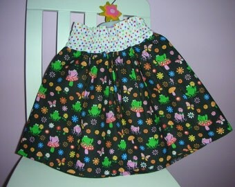 Black FROG skirt print multicolored frogs