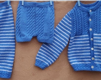 Baby set 3 parts, baby suit, Baby costume, Clothing, baby gift, children knits, blue, warm, soft, sweater, with buttons, pants, shorts