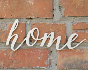 Home Script Word Wood Sign, Home Wood Sign, Laser Cut Wood Sign, Cursive Wood, Rustic Wall Sign home Personalized Wooden Sign