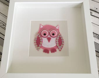 Olivia Owl, Framed Felt Owl (children's bedroom, nursery, new arrival, Christening, birthday, home, playroom)