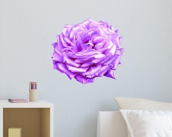 Rose Wall Decal - Rose Wall Decor - Rose Decal - Floral Wall Decal - Flower Decals - Flower Wall Decals - Purple Rose