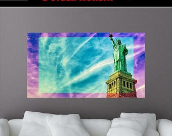 Statue of Liberty Removable Mural Wall Decal, New York City, New York Wall Decals, Sticker, Vinyl, Living Room,