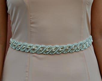 "Braided rhinestone bridal sash ivory, white, champagne with self tie on 2"" satin ribbon hand beaded."