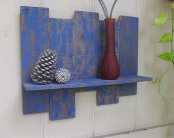 Reclaimed Pallet Wood Wall Display Shelf Rustic Distressed Beach House Coastal Decor