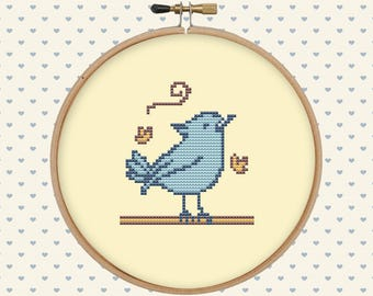 Autumn bird cross stitch pattern - cute cross stitch pattern - instant download - easy cross stitch - embroidery bird - counted cross stitch
