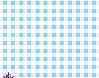 FS130_3 Blue Gingham Print On Jersey Stretchy Scuba Fabric Checked Square Tartan