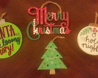 Hand Painted Wood Christmas Ornaments