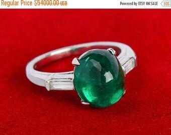 ON SALE Lavish Exceptional Colombian Emerald Vintage Ring Diamonds Platinum   Colombian Emerald Ring Cabochon Baguettes    17909