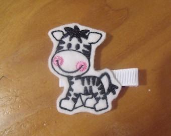 Handmade Boutique Double Prong Lined Hair Clip - Machine Embroidered Zebra Feltie - Jungle Safari Animals