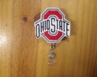 NCAA OSU Ohio State University Retractable Reel ID Badge Lanyard Clip Nursing Scrubs