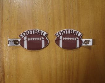 Handmade boutique set of 2 Football Hair Clips on lined double prong alligator clips