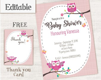 Pink Owl Baby Shower Invitations, Editable PDF, Owl Baby Shower, Baby Girl, Invitation Editable, Owl Party