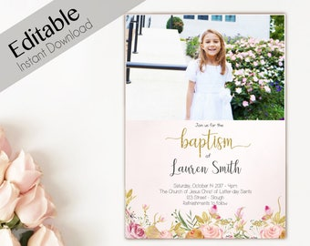 Baptism Invitation Girl, Editable PDF, Girl Invitation peach pink flowers, Baptism Invite, Flower watercolor Baptism Template