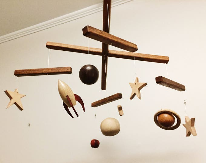 Space Mobile - Exotic Hardwood Mobile For Nursery, Children's Room