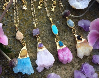 druzy agate &pastel coloured quartz fan shaped pendants in such pretty colours. with various gemstone connectors and electroplated in gold
