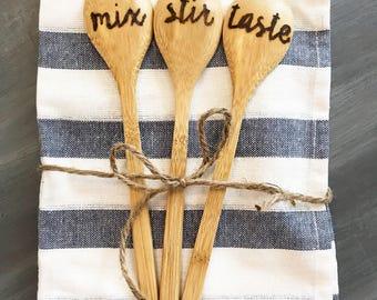 Stir, mix, taste wooden spoon set- kitchen towel NOT included