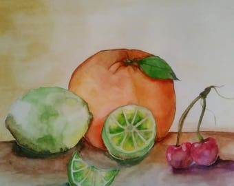 Colorful fruits water color painting