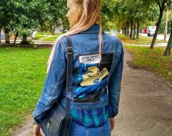 Jean Jacket, Jeans Jaket with paint, pop art jacket, pop art, paint, handmade jacket, acrylic art