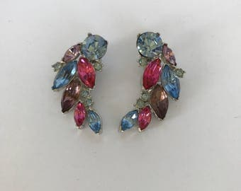 Large Colorful Rhinestone Clip On Earrings in pinks and blues
