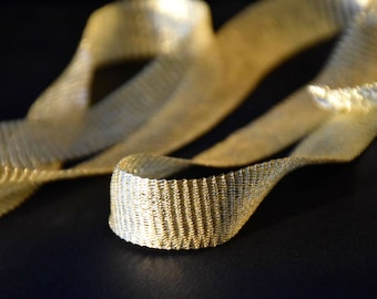 Titanium Tubular Mesh Ribbon. Mesh Wire. Titanium Mesh. Wire Lace .Gold . 1 mt.  Ribbon Supplies-  NC02